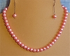 Pink Glass Pearls & Sterling Silver Necklace and/or Matching Earrings