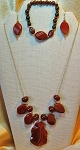 Carnelian & 14K GF Necklace, Matching Earrings, Bracelet