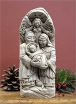 Angel Watching Over Nativity  Aged Hand Cast Stone  Made in U.S.A.