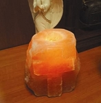 Salt Crystal Tea Light Candle Holder with Cross  Himalayan Salt Crystal