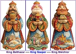 Three Kings Set, Hand Moulded, Hand Painted  Limited Edition  Russia