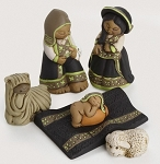 Joyful Andean Family Nativity, Ceramic, Peru