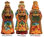 Folk Nativity 3 Kings Set  Hand Moulded, Hand Painted   Limited Edition   Russia