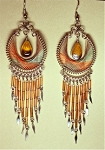 Flashy Teardrop String Art Earrings or Pendant, with Beads and Dangles