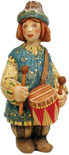 Folk Nativity Little Drummer Boy  Hand Moulded, Hand Painted   Limited Edition   Russia