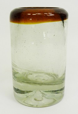 Short Shot Glass, 1.5 oz. Amber Rim<br>Hand blown glass from Mexico