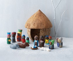 Haitian Clay Nativity 14 Piece Set with Coconut Hut