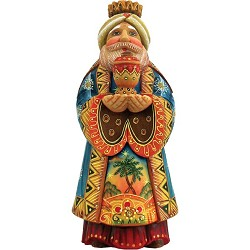 Folk Nativity King Gaspar  Hand Molded, Hand Painted   Limited Edition   Russia