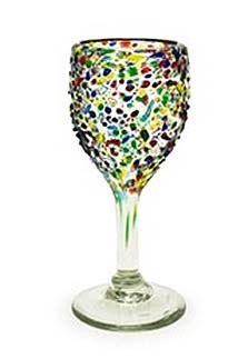 Set of 4 Wine Glasses 12 oz.<br>Speckled Confetti <br>Hand blown from Mexico