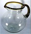 Bola Pitcher, 80 oz. Amber Rim & Handle, Hand blown glass from Mexico