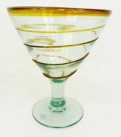Martini / Margarita Glass, 12 oz. Amber Whirl<br>Hand blown glass from Mexico