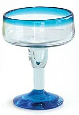 Margarita Glass, 12 oz. Turquoise Rim<br>Hand blown glass from Mexico