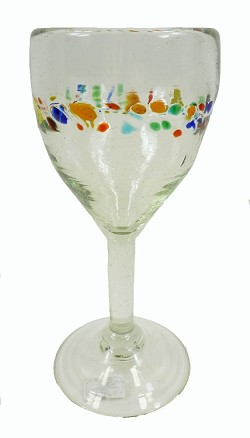 All Purpose Wine Glass<br>10 oz. Tutti Frutti Style<br>Hand blown glass from Mexico
