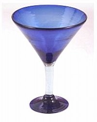 Classic Martini / Margarita Glass<br>15 oz. Solid Cobalt<br>Hand blown glass from Mexico