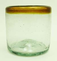 Single Old Fashion Rocks Glass<br>10 oz. Amber Rim<br>Hand blown glass from Mexico