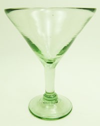 Martini / Margarita Glass, 10 oz. Clear glass<br>Hand blown glass from Mexico