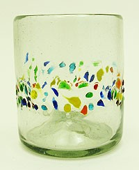 All Purpose Rocks Glass<br>12 oz. Speckled Tutti Frutti Band<br>Hand blown glass from Mexico