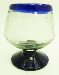 Brandy Snifter Glass 10 oz.<br>Cobalt Rim and Cobalt base<br>Hand blown glass from Mexico
