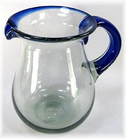 Pera Pitcher, 56 oz. Cobalt Rim & Handle<br>Hand blown glass from Mexico