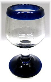 Stemmed Tequila Sipper<br>2.5 oz. - 3 oz. Cobalt Rim<br>Hand blown glass from Mexico