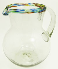 Bola Pitcher, 80 oz. Confetti Rim<br>Hand blown glass from Mexico