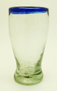 Cantina Beer Glass, 14 oz. Cobalt Rim<br>Hand blown glass from Mexico