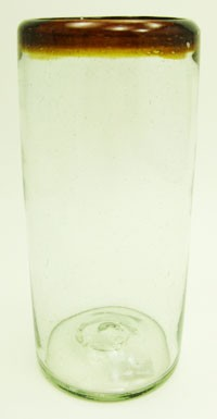 Tall Ice Tea Glass, 22 oz. Amber Rim<br>Hand blown glass from Mexico