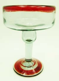Margarita Glass<br>12 oz. Red Rim & Red Swirl Base<br>Hand blown glass from Mexico