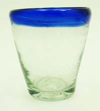 Tapered Shot Glass, 2.5 oz. Cobalt Rim<br>Hand blown glass from Mexico