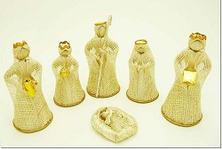 "Abaca Nativity Scene, Natural 4"" Tall, Philippines"