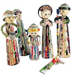 Nativity Scene Rolled Recycled Newspaper  Vietnam