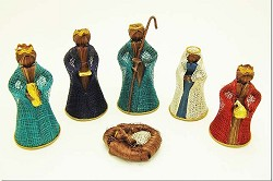 "Abaca Nativity Scene, Colorful 4"" Tall, Philippines"