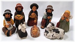 Nativity Set Painted Clay  Peru