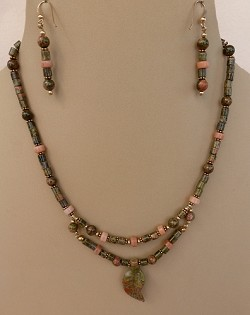 Unakite and Peach Aventurine Necklace, and/or Matching Earrings