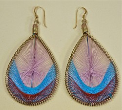 String Art Earrings (or Pendant) - Large Teardrop in blues and purples