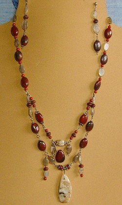 Jasper & Moonstone Necklace and/or Matching Earrings