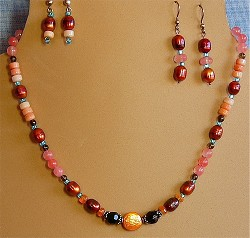 Pearls, Aventurine, Smokey Quartz, Cherry Quartz, Fire Opals, Glass Necklace and/or Choice of Matching Earrings