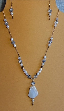 Blue Chalcedony & Crystals Necklace and/or Matching Earrings