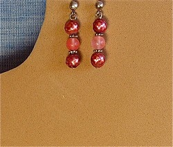 Cherry Quartz, Faceted Pearls & Sterling Silver Earrings