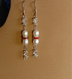 Pearls,Crystals, Red Crystal Ring Earrings