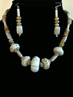Dragon Skin Rondells, Fossilized Coral & Jasper Necklace and/or Matching Earrings