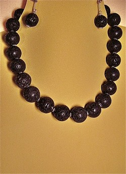 Rare, Exotic, Genuine Black Lava Beads & Sterling Silver Necklace and/or Matching Earrings