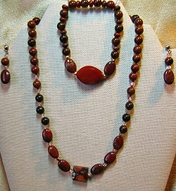 Jasper and Glass Necklace and/or Matching Earrings, Bracelet