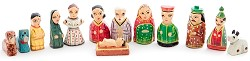 Mini Nativity Scene Polka Dotted, Painted Wood, India