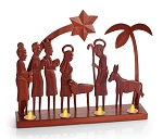 Padauk Tea Light Nativity<br>Cameroon, Africa
