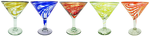 Classic Martini / Margarita Glass<br>15 oz. One of each Swirl Color, Amber, Cobalt, Red, Orange and Yellow Swirl, Set of 5<br>Hand blown glass from Mexico