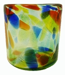 Double Old Fashion Rocks Glass<br>14 oz. Solid Confetti<br>Hand blown glass from Mexico