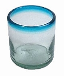 Double Old Fashion Rocks Glass<br>14 oz. Turquoise / Aqua Rim<br>Hand blown glass from Mexico