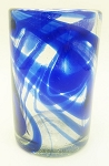 Tumbler Glass, 16 oz. Cobalt Swirl<br>Hand blown glass from Mexico