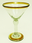 Small Martini Glass, 7 oz. Amber Rim<br>Hand blown glass from Mexico